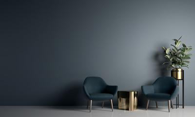 blå møbler på kontor